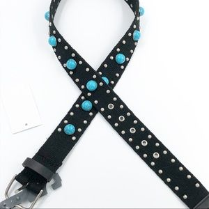 Silver & Turquoise Studded Black Strap Belt